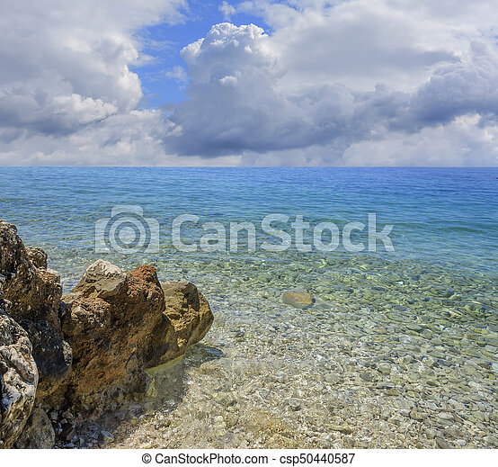 Sky with clouds over the sea or ocean. Nature background.