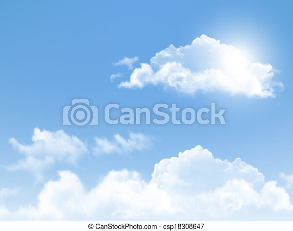 Blue sky with clouds. Vector background.  - csp18308647