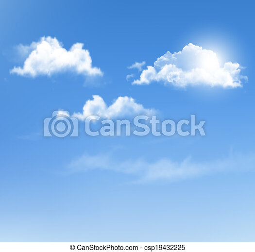 Blue sky with clouds. Vector background. - csp19432225