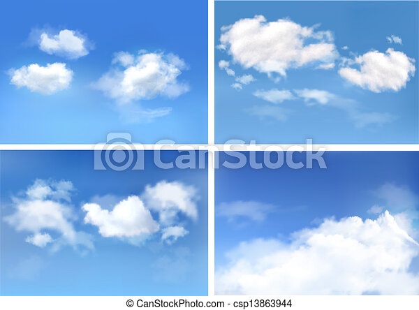 Blue sky with clouds. Vector backgrounds. - csp13863944