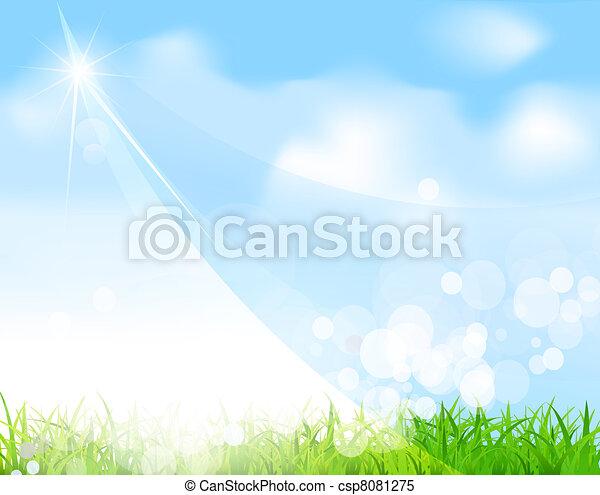 blue sky with grass, beam, blur - csp8081275