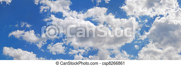 Blue sky with many cumulus white clouds. - csp8266861