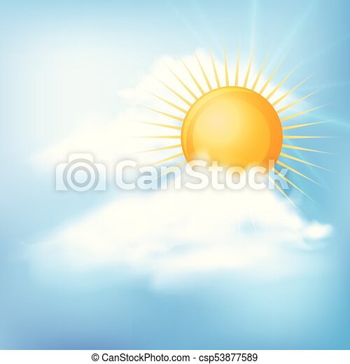 Blue sky with sun and clouds - csp53877589