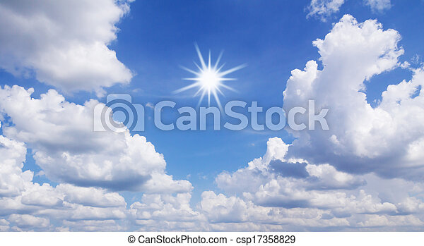 Blue sky with white clouds and sun - csp17358829