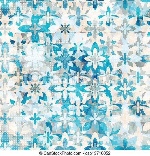 blue snow flowers seamless pattern - csp13716052