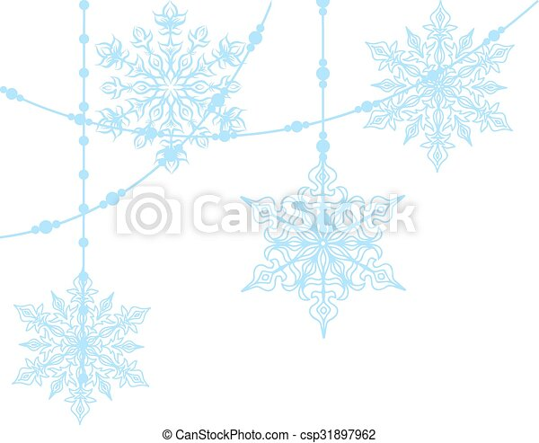 blue snowflakes isolated on white - csp31897962