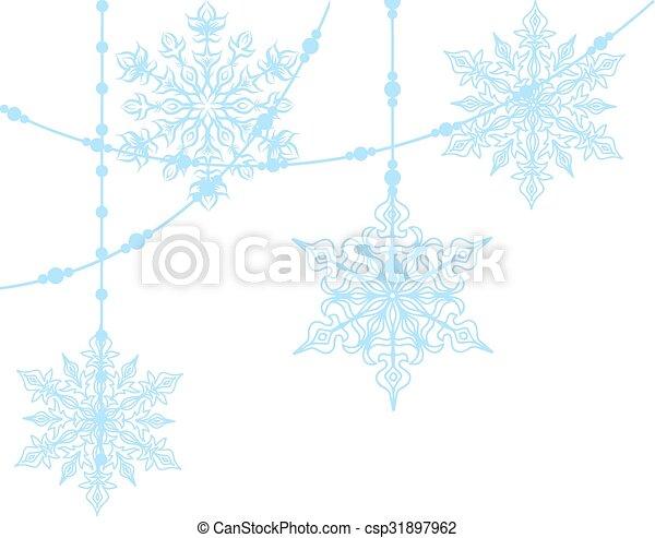 blue snowflakes isolated on white - csp31897962