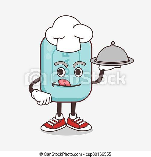 Blue Soap cartoon mascot character as a Chef with food on tray ready to serve - csp80166555