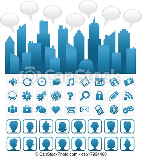 Blue Social Media City - csp17934460