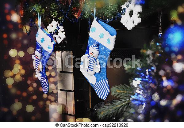 Blue socks for Christmas - csp32210920