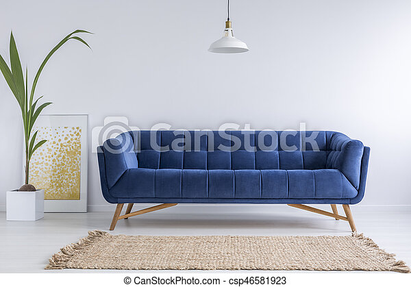 Blue Sofa And Wicker Carpet In White Simple Living Room Canstock