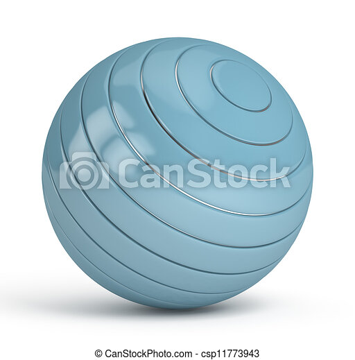 Blue Sphere on white background - csp11773943