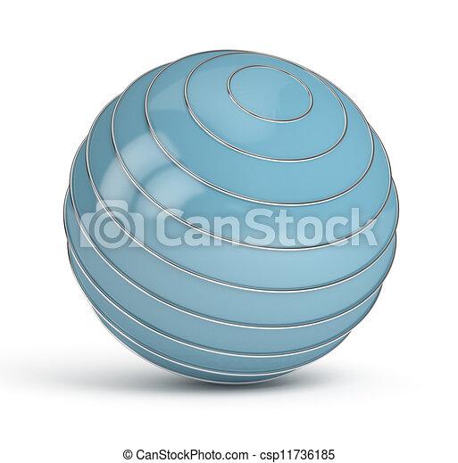 Blue Sphere on white background - csp11736185