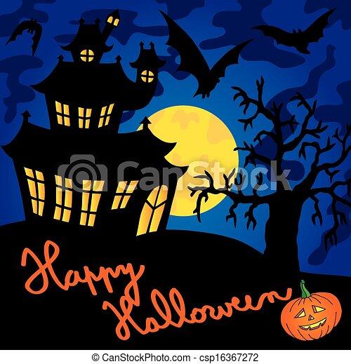 Blue spooky house 01 - csp16367272