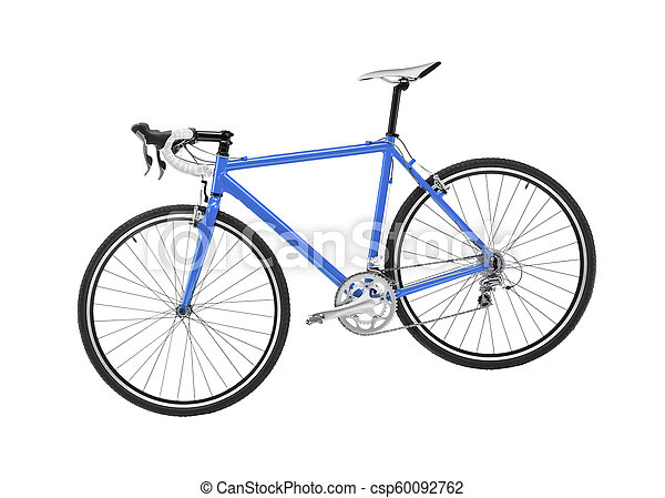 blue sport bicycle on white background - csp60092762