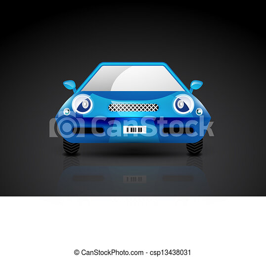 Blue sports car icon - front view - csp13438031