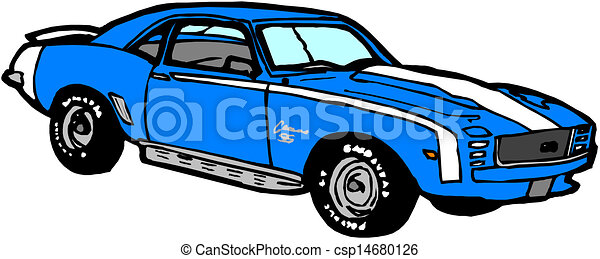 blue sports car - csp14680126
