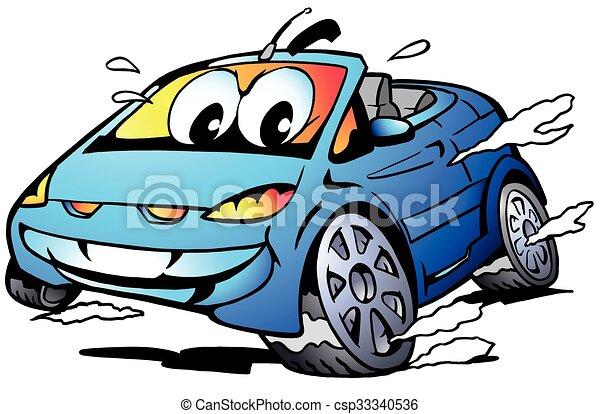 Blue Sports Car Mascot racing  - csp33340536