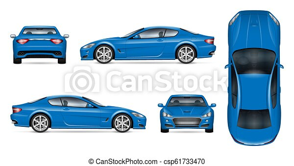 Blue sports car realistic vector illustration - csp61733470