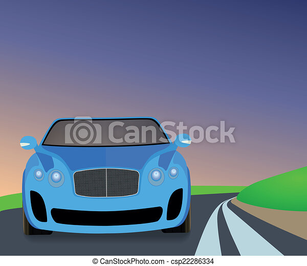 Blue sports car traveling on the road to turn. - csp22286334