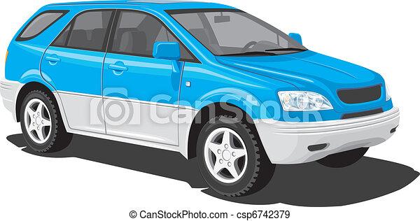 Blue sports utility vehicle - csp6742379