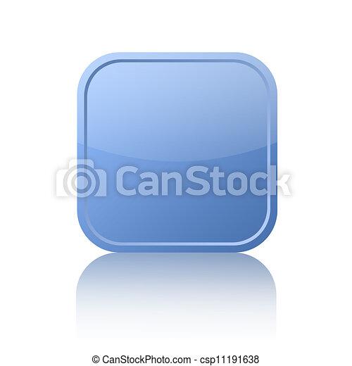 Blue square button - csp11191638