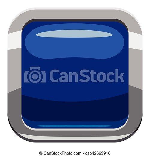 Blue square button icon, cartoon style - csp42663916