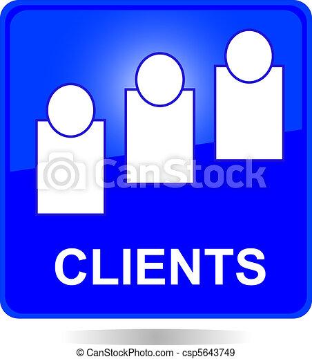 blue square clients button - csp5643749