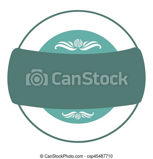 blue square emblem with ribbon icon - csp45487710