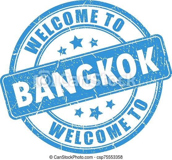 Blue stamp welcome to Bangkok - csp75553358