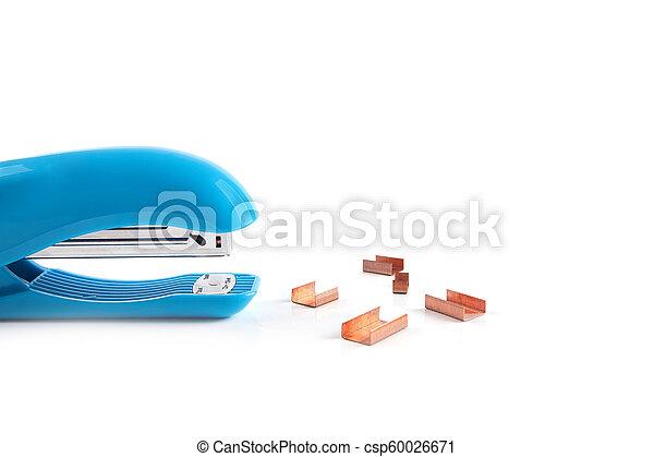 Blue stapler isolated on white background - csp60026671