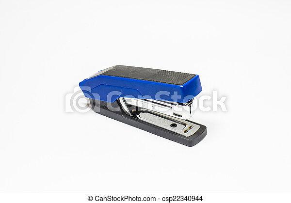 Blue Stapler isolated on white background - csp22340944