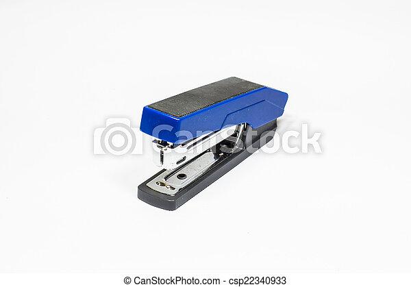 Blue Stapler isolated on white background - csp22340933