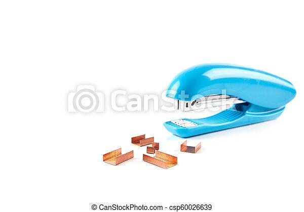 Blue stapler isolated on white background - csp60026639