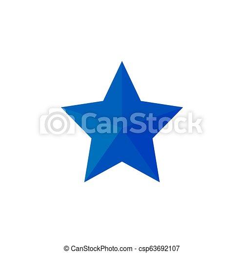 Blue Star icon. Vector illustrations. Flat design. - csp63692107