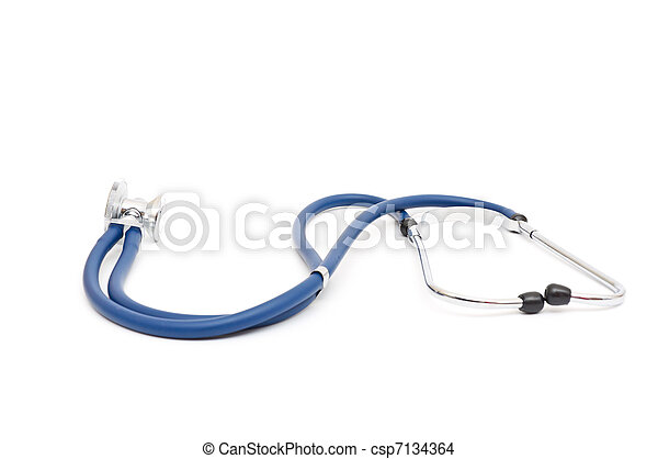blue stethoscope isolated on a white background - csp7134364