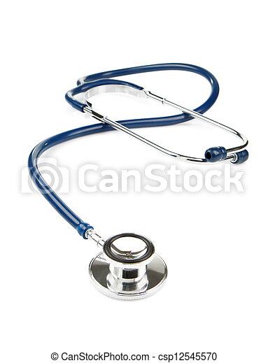 blue stethoscope isolated on white - csp12545570