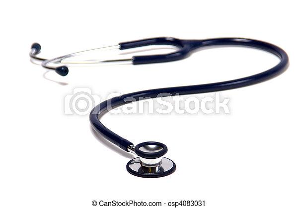 blue stethoscope isolated on white background - csp4083031