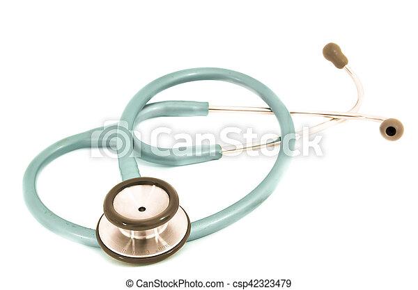 Blue stethoscope isolated on white - csp42323479
