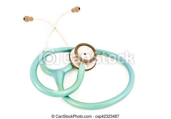 Blue stethoscope isolated on white - csp42323487