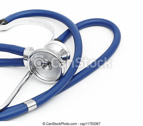 Blue stethoscope isolated on white background - csp11753367