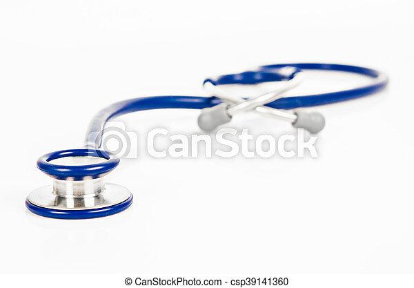 Blue stethoscope isolated on white - csp39141360