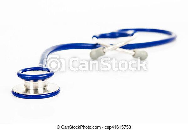 Blue stethoscope isolated on white - csp41615753
