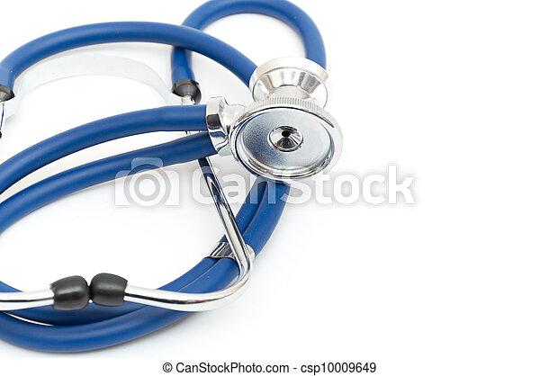 Blue stethoscope isolated on white - csp10009649