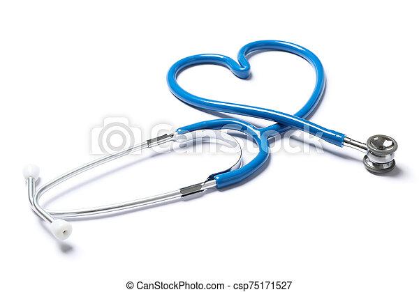 Blue stethoscope isolated on white background. Healthcare - csp75171527