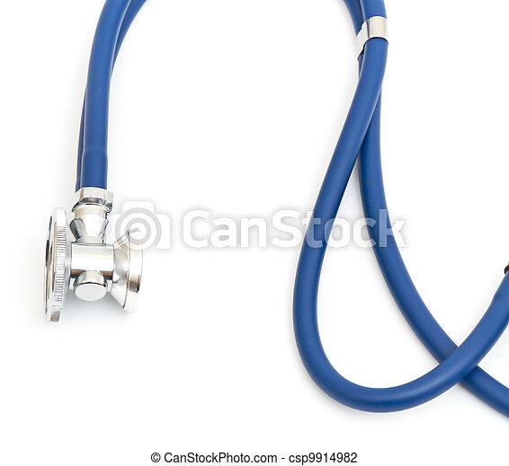 Blue stethoscope isolated on white - csp9914982
