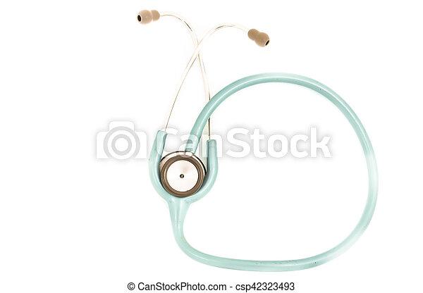Blue stethoscope isolated on white - csp42323493