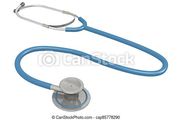 Blue stethoscope isolated on white background - csp85778290