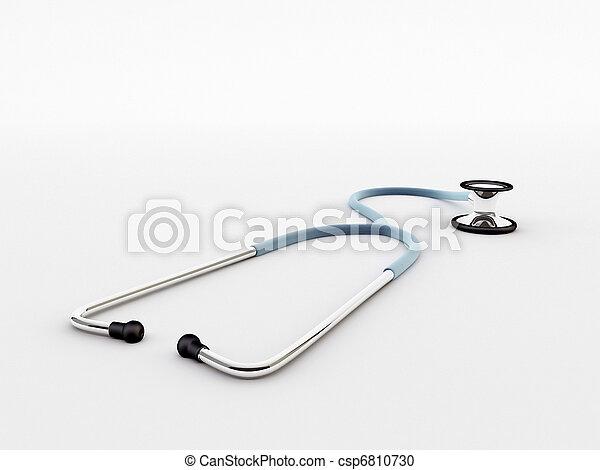 blue stethoscope isolated on white background - csp6810730