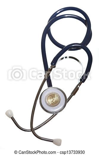 Blue stethoscope isolated on white - csp13733930